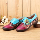 Bohemian Flats Shoes Printed Genuine Leather Zipper Casual Shoes