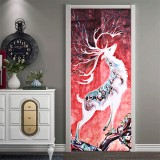 3D Door Wall Sticker Fridge Deer Waterproof Sticker Self Adhesive Paper Wrap Mural Decal