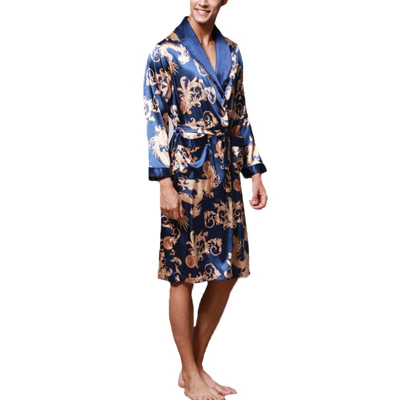 Mens Satin Silk Pajamas Kimono Dressing Robe Gown Loungewear Bathrobe Sleepwear