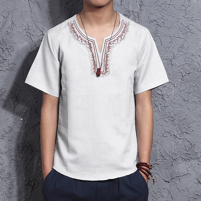 INCERUN Men Cotton Vintage Short Sleeve Casual Embroidery Loose V-Neck Tops Shirts