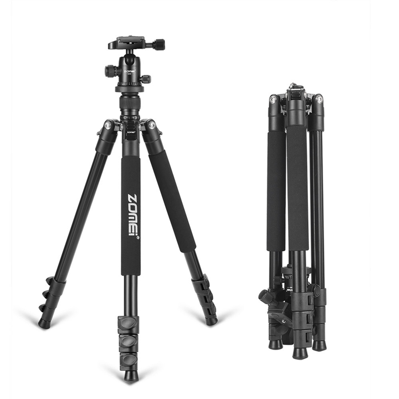 Aluminum Tripod Flexible Portable Camera Tripod Stand Tripe with Ball Head for DSLR Camera Smartphones for Travel and Work Color : Black, Size : One Size