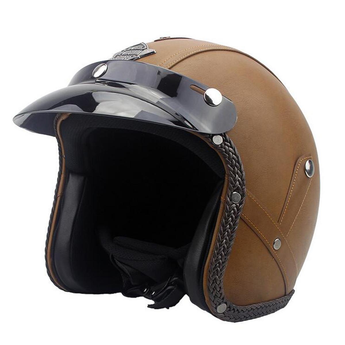 DOT 3/4 Face Vintage Leather Motorcycle Helmet Motorbike ...