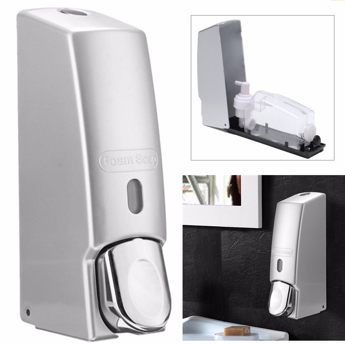 600ml Bathroom Kitchen Soap Dispenser Gel Lotion Bottle Pump Shower Shampoo Storage Wall Mounted