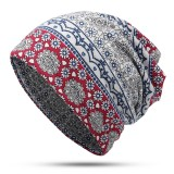 Womens Ethnic Slouchy Beanie Cap Scarf Outdoor Floral Double Layers Cotton Turban