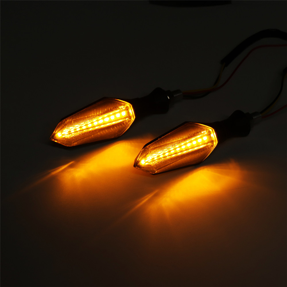 Pair 12V Waterproof LED Motorcycle Turn Signal Indicators With Amber Flowing Light Blue Back Lights