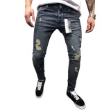 Casual Street Style Cotton Washed Holes Frayed Jeans Pencil Pants For Men
