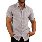 INCERUN Mens Causal Summer Collar Shirts Pocket Short Sleeve Tops