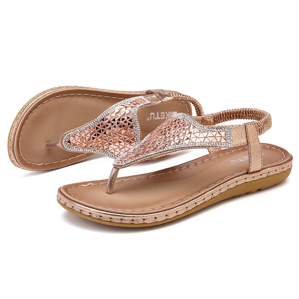 Bohemian Rhinestone Elastic Band Flat Sandals