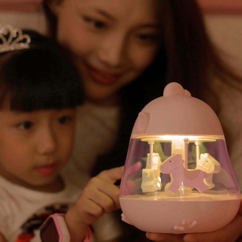 Carousel Music Box 7 Color Change Cartoon Carousel Music Night Light Clockwork Touch Chick Music Case Kid Gift Home Decor