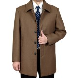 Mens Mid-long Business Trench Coat Solid Color Casual Woolen Coat