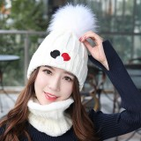 Women Windproof Thicken Plus Velvet Knit Hat Scarf Set Winter Earmuffs Beanie Cap