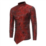 Mens Ethnic Style Printing Irregular Stand Collar Long Sleeve Casual Shirts
