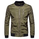 Mens Fashion Casual Zipper Solid Color Baseball Collar Bomber Jacket