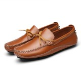 Men Casual Genuine Leather Slip-on Loafers Soft Flats