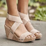 Large Size Women Peep Toe Elastic Band Cross Wedge Sandals