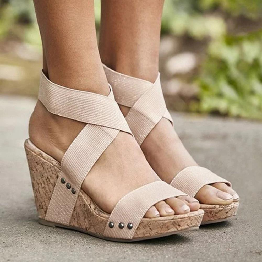 Large Size Women Peep Toe Elastic Band Cross Wedge Sandals -5459