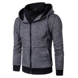 Mens Casual Drawstring Zipper Sweatshirt Solid Color Cotton Hoodies Jacket
