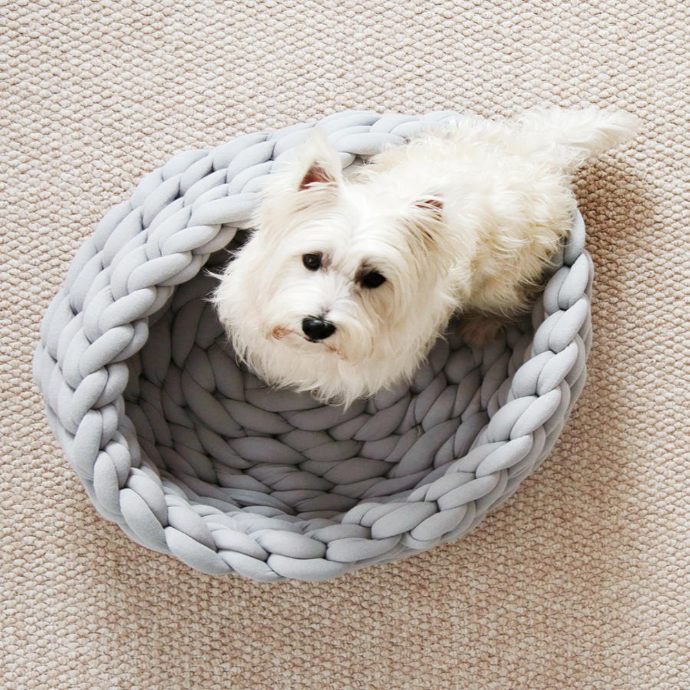 Knitted Pet Bed Dog Cat Bed Puppy Pillow House Soft Warm Dog House Mat