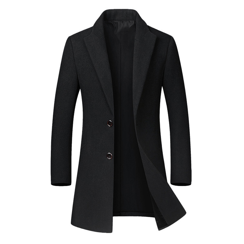 Mens Business Casual Woolen Trench Coat Mid-long Single Breasted Slim Fit Coat