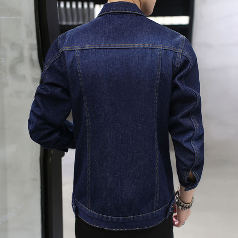 Mens Thick Denim Turn Down Collar Fashion Casual Jacket