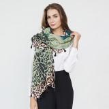Women Gradient Leopard Print Fashion Tassel Fringe Banquet Leisure Scarf