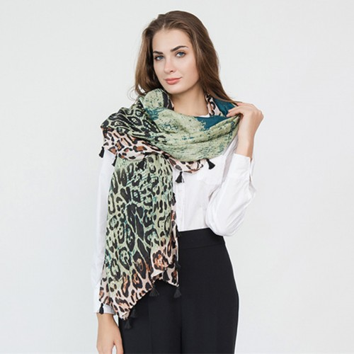 Women Gradient Leopard Print Fashion Tassel Fringe Banquet Leisure Scarf
