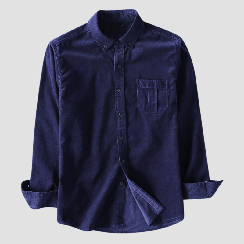Mens Vintage 100% Cotton Solid Color Long Sleeve Slim Fit Casual Shirts