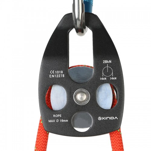 XINDA Aluminum Alloy Emergency Rescue Climbing Pulley Big Pulley Hoisting Bearings Security Pulley