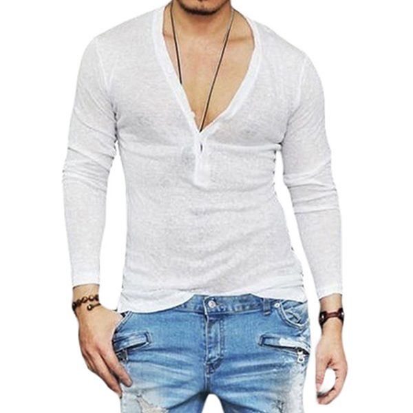Mens V-neck Buttons Breathable Solid Color Long Sleeve Casual T shirts Tops