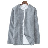ChArmkpR Mens Casual Linen Long Sleeve Solid Color Loose Shirts