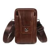 Cowhide Multi-function Phone Purse Vintage Crossbody Bag Oil Wax Waist Bag For Men
