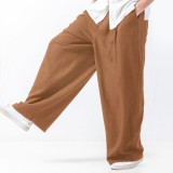 Mens Baggy Style Cotton Solid Color Elastic Waist Casual Loose Wide Leg Pants