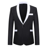 Mens Business Formal Fashion Contrast Color Thin Slim Fit Blazer Suits