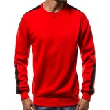 Men's Plus Size Casual Thick Fleece Cotton Long Sleeve Printed Crew Neck Sweatshirt