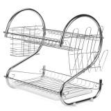 Multifunction 2 Tier Kitchen Dish Cutlery Drainer Rack Drip Tray Plate Holder Drain Shelf