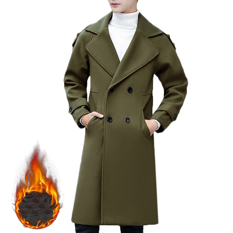 Mens Slim Mid Long Double Breasted Thick Warm Stylish Trench Coat Woolen Overcoat