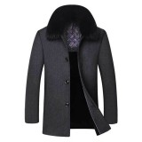 Mens Woolen Thick Fleece Lining Winter Detachable Fur Collar Trench Coats