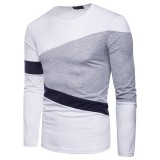 Mens Fashion Color Block Crew Neck Long Sleeve Casual T-shirts