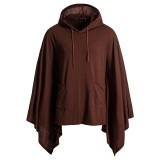 Mens Fashion Drawstring Sweater Casual Hit Color Hoodies Sweatshirts Cloak Coat