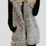 Women Sleeveless Pure Color Hooded Fluffy Fur Outwear Coats