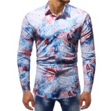 Watercolor Ink Printed Casual Long Sleeve Top Turn Down Collar Shirts for Men