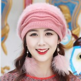 Women Vintage Artificial Rabbit Fur With Velvet Knit Hat Winter Warm Earmuffs Ski Beanie Hat