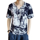 INCERUN Mens V Neck Ink Printing Chinese Style Casual Cotton Short Sleeve Tops Tees