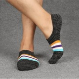Men Combed Cotton Athletic Socks with Silicone Slip Outdoor Stripe Deodorization Ankle Sock