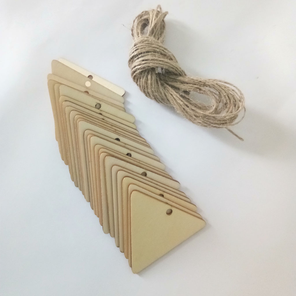 OKIl 10Pcs Wood Blank Hang Tags Wooden Hanging Label Logo Sign Sheet DIY Crafts Engraving Decor