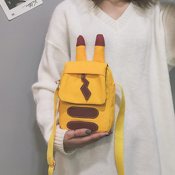 Women Canvas Hip-hop Cartoon Shape Shoulder Bag Phone Bag