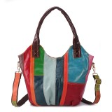 Women Oil Wax Genuine Leather Hobos Handbag Large Capacity Patchwork Bohemian Crossbody Bags