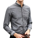 Casual Stripe Decoration Stand Collar Long Sleeve Solid Color Slim Fit Dress Shirts for Men