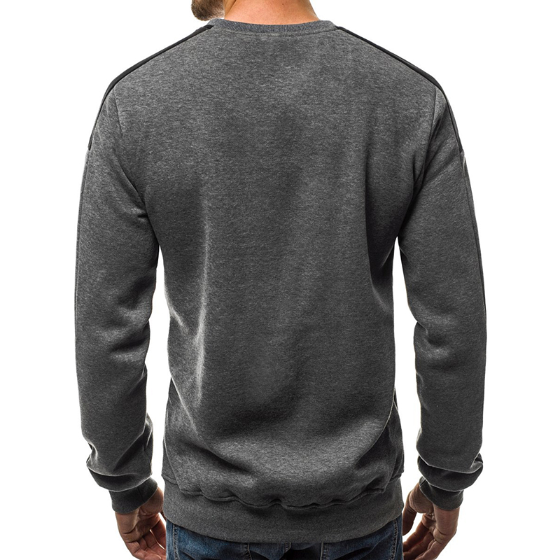 Men's Plus Size Casual Thick Fleece Cotton Long Sleeve Printed Crew Neck Sweatshirt