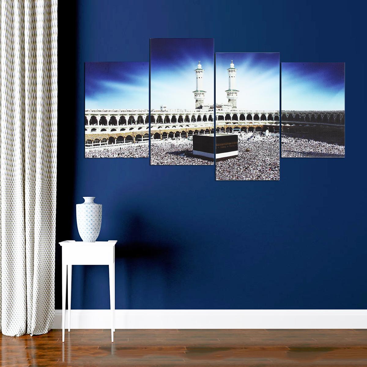 4 PCS Wall Art Print Mecca Islamic Kaaba Hajj Canvas Paintings Decor